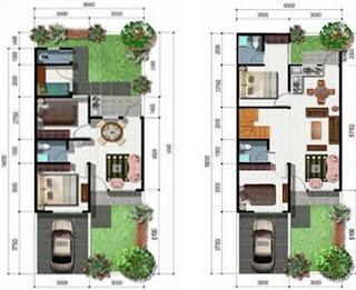 Denah model rumah minimalis type 36