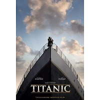 Titanic movie poster by James Cameron staring Leonardo Di Caprio an Kate winslet