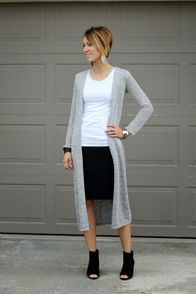 Gray maxi cardigan, white tee, black pencil skirt and black peep toe ankle boots