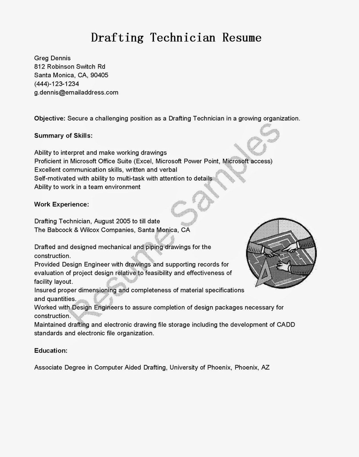 resume samples drafting technician resume sample
