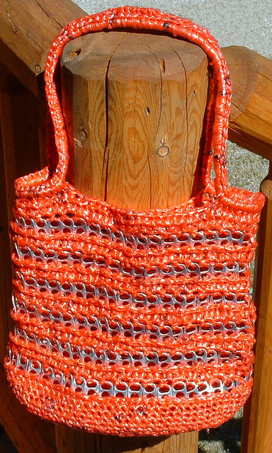 tote bag crochet plarn checkers rug crochet plarn dual handle tote bag ...