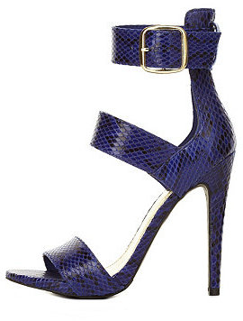 Charlotte Russe Blue textured high heeled stiletto sandals