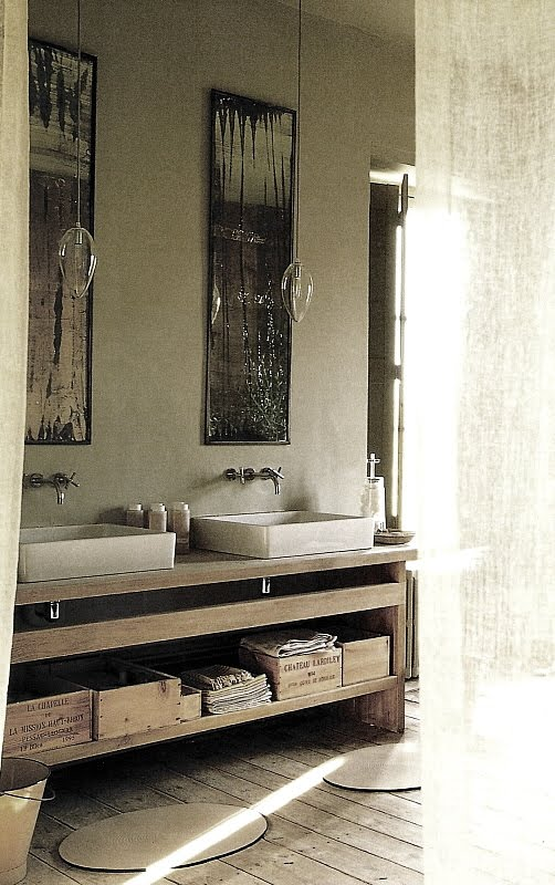 Contemporary bath designs with rustic elements via Côté Sud Fev-Mars2003, edited by lb for linenandlavender.net, post:  http://www.linenandlavender.net/2010/05/design-daily_21.html