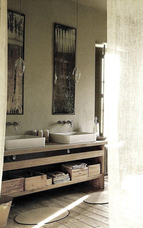 Contemporary Bath Designs With Rustic Elements Via Côté Sud Fev Mars2003,  Edited By Lb