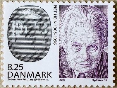 Piet Hein frimærke med super-ellipse og portræt billede