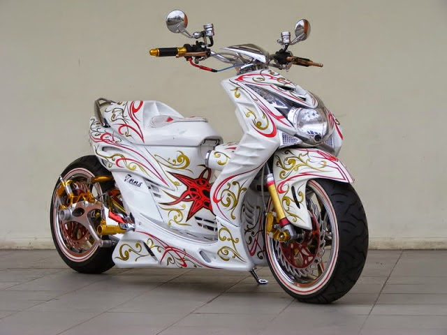 modifikasi motor mio cat batik