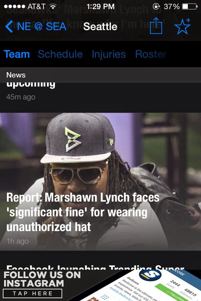 Report: Marshawn Lynch faces 'significant fine' for wearing unauthorized hat