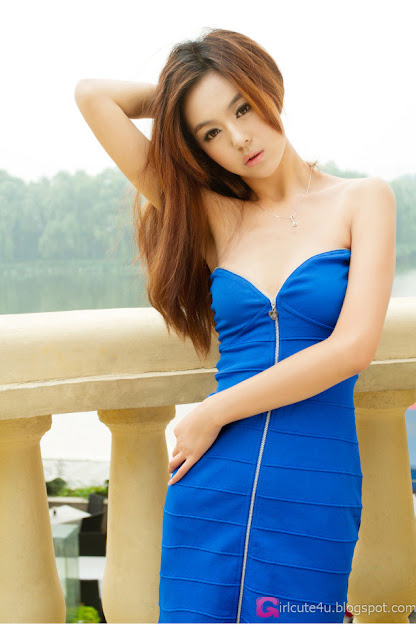 2 Lu Yao in blue dress-Very cute asian girl - girlcute4u.blogspot.com