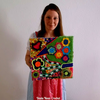 Crochet Painting with buttons