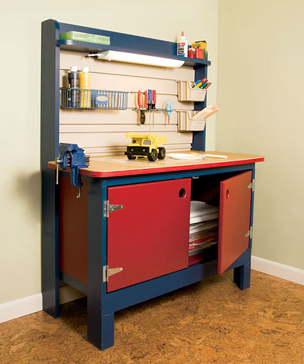 Diy child 39 s workbench for Working table design