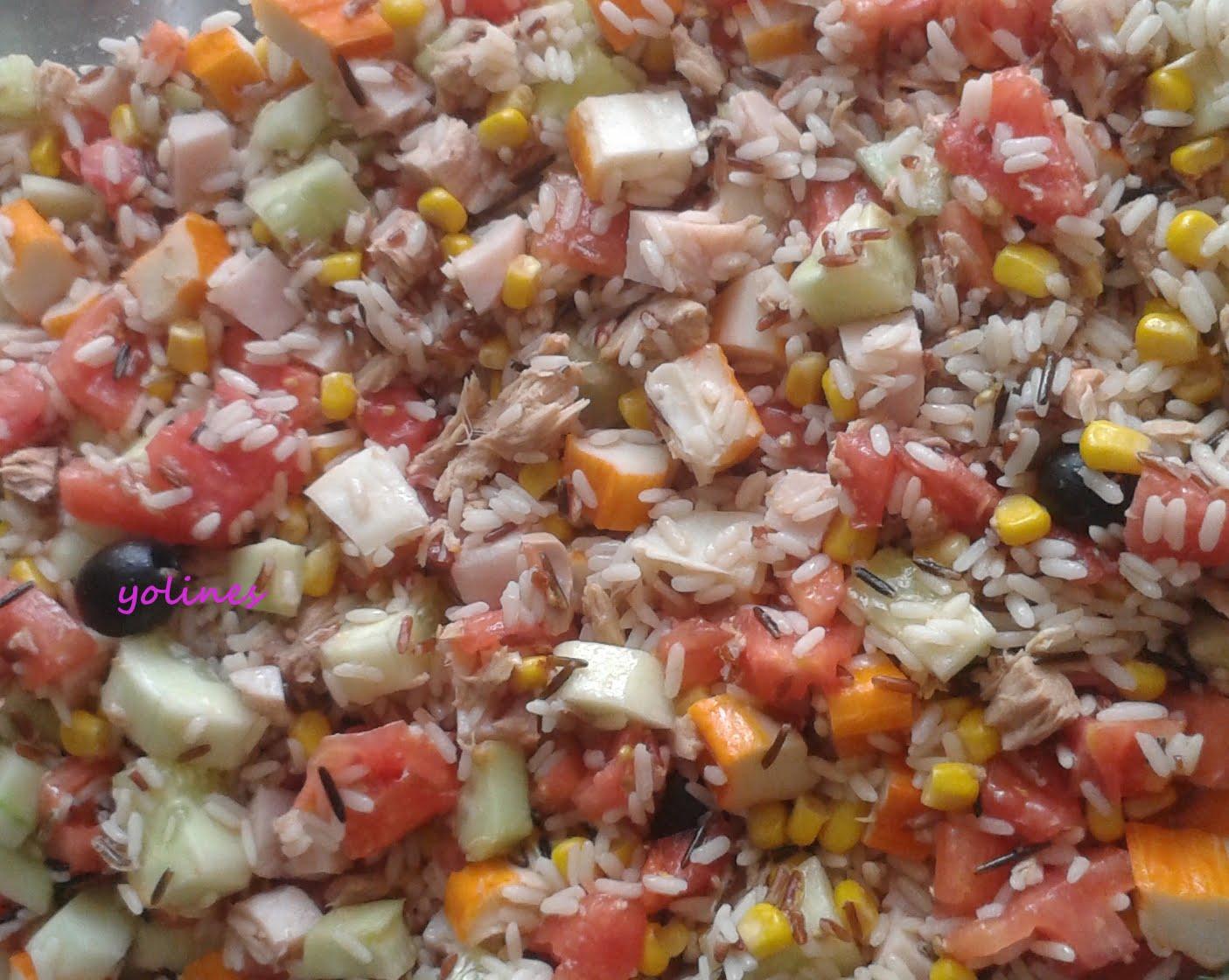 Vamos a cocinar con yoli e in s ensalada de arroz con at n - Ensalada de arroz y atun ...