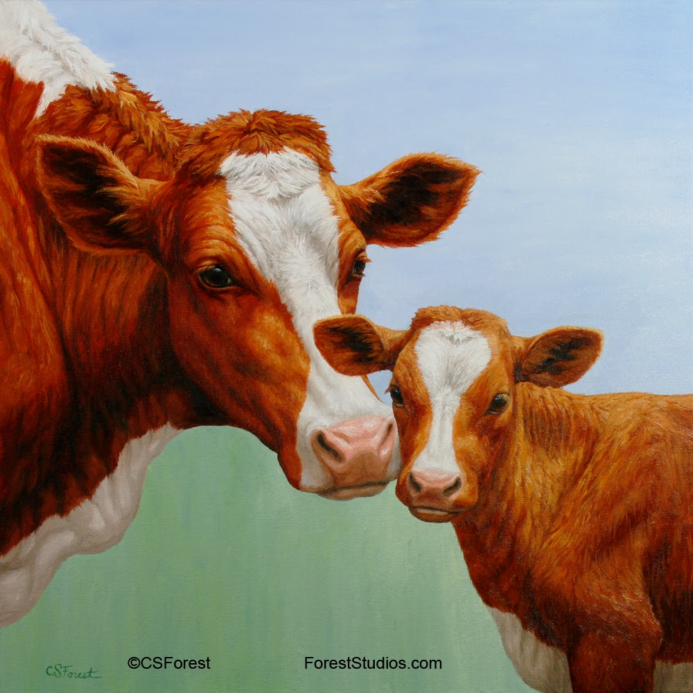 Forest Wildlife Art: Cow and Calf Painting