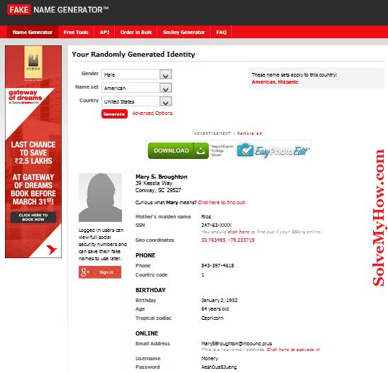 Cafenews Fake Name info Generator -