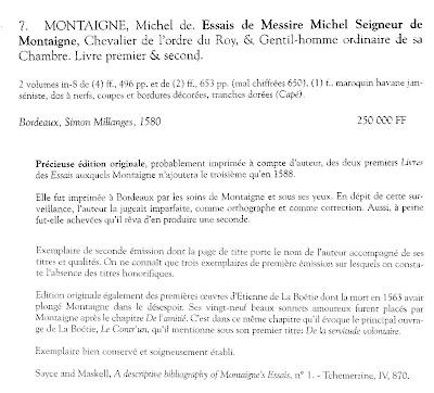 Fiche de libraire : un exemplaire des Essais de Montaigne de la première édition de 1580 dans Auteurs, écrivains, polygraphes, nègres, etc. montaigne-1580