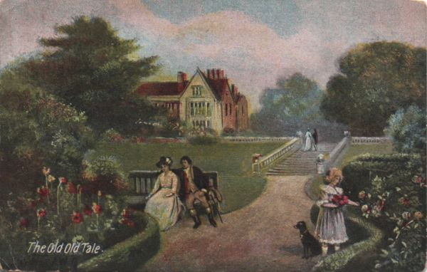 vintage postcard showing couple in garden