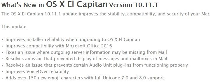 Mac OS X El Capitan 10.11.1 Changelog