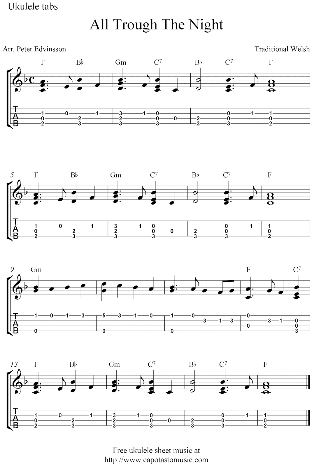 All Trough The Night, free Christmas ukulele tabs