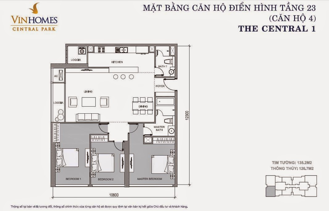Mặt bằng căn hộ Vinhomes Central Park số 4 tầng 23