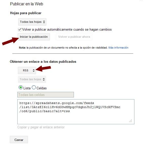 Enlace RSS hoja de cálculo Google Docs