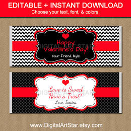 Shop: Valentine Candy Bar Wrappers