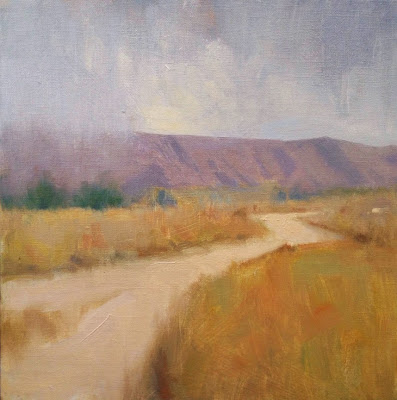 Oil landscape painting of a path through a field in Arroyo Verde Park by artist Steve Allrich
