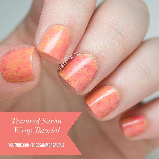 Textured Saran Wrap Nail Art Video Tutorial