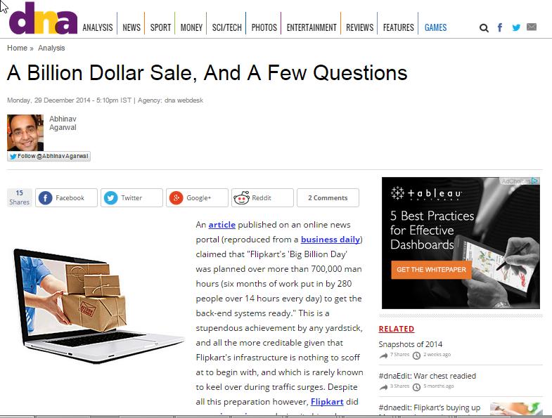 A Billion Dollar Sale, And A Few Questions, by Abhinav Agarwal, published in DNA, Dec 29 2014