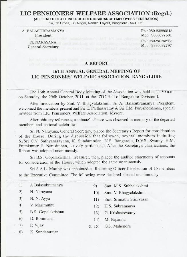 Bangalore - 16th A.G.M.
