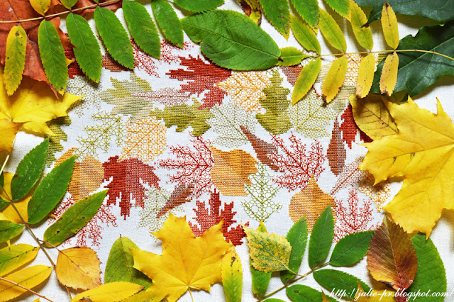Mary Hickmott Autumn leaves, New Stitches №164, вышивка крестом, blackwork, подушка с листьями, вышивка