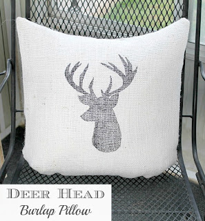 Deer Head Burlap Pillow www.lovegrowswild.com #diy #pillow #burlap #deer