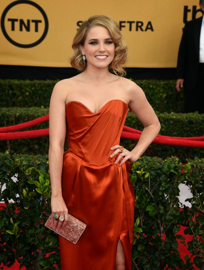 Sophia Bush is glamorous in a strapless Vivienne Westwood gown at the 21st Annual SAG Awards in LA