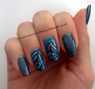 Peacock feather nails