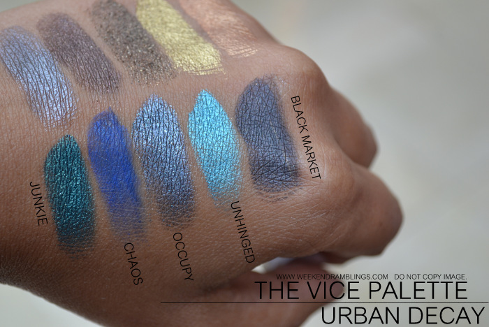 urban decay vice palette eyeshadows indian makeup beauty blog swatches junkie chaos occupy unhinged black market