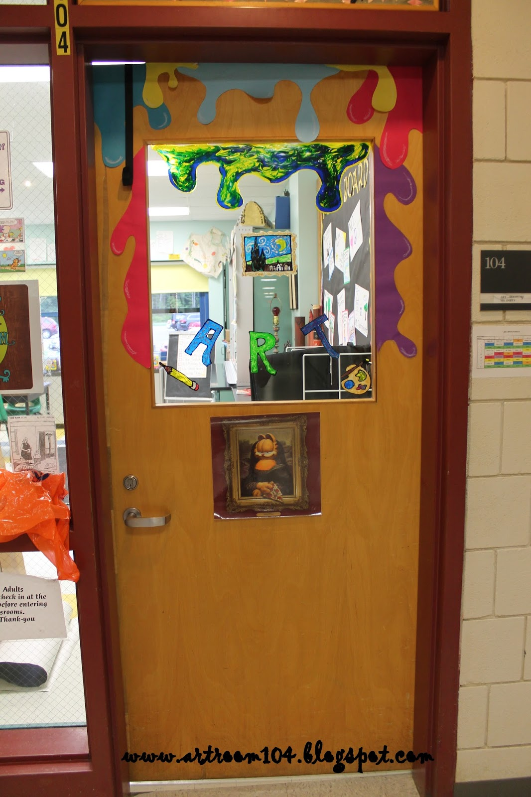 Art room 104 here goes bring it on 2013 2014 for Art room door decoration
