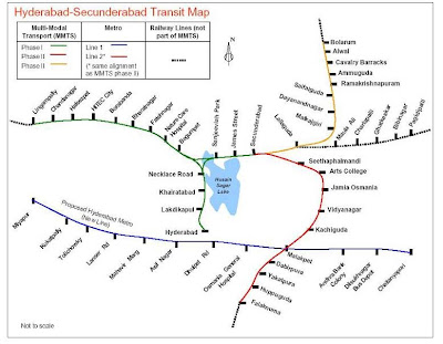 Hyderabad and Secunderabad MMTS Train Route Map