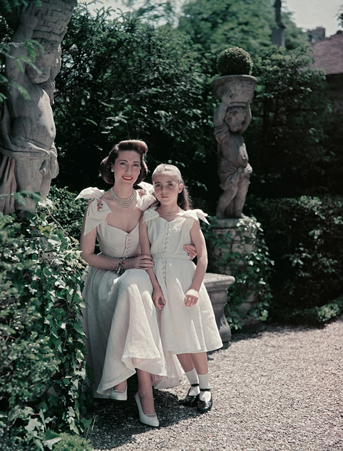 Sophie Rochas with her mother Helene Rochas wearing identical designs by Marcel Rochas 1953 via www.fashionedbylove.co.uk