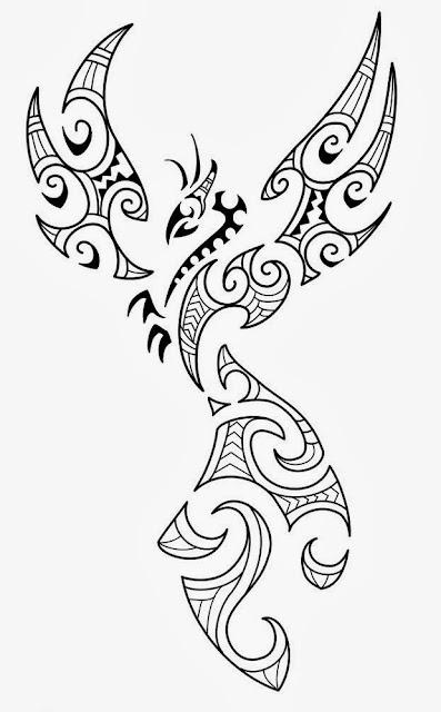 Phoenix Maori tattoo stencil