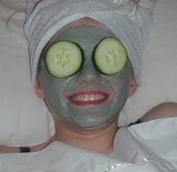 facial mask with cucumbers