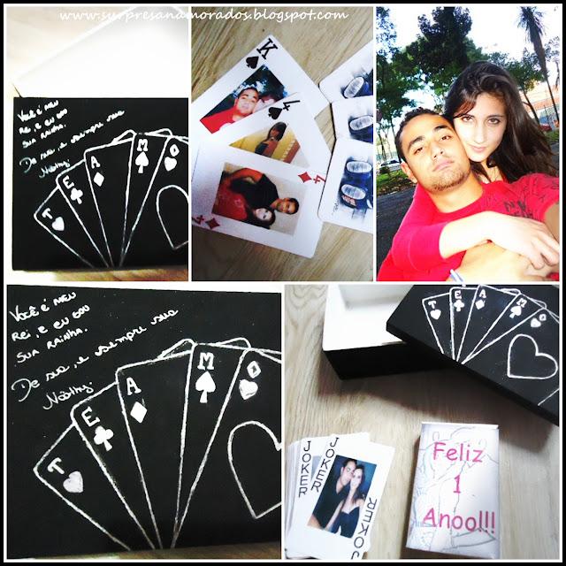 caixa de baralho para o namorado com fotos