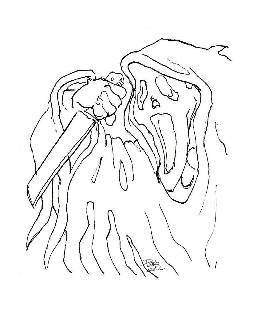 Pictures Of Ghost Face Coloring Pages Www Kidskunst Info