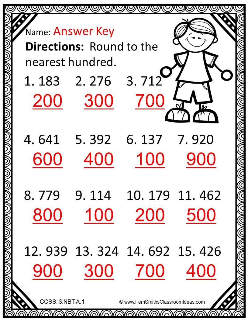 Fern SMith's Rounding to the Nearest Ten or Hundred - Color Your Answers Printables 3.NBT.A.1 for Go Math, Third Grade, Chapter One