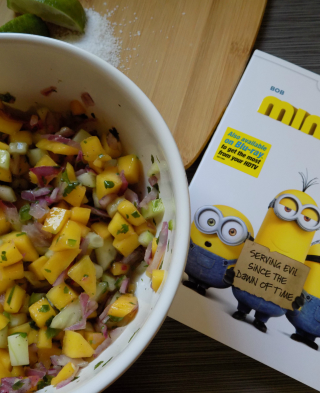 Easy Mango Salsa Recipe & DIY Minions Movie Serving Cups For your Next Family Movie Night One Savvy Mom onesavvymom blog nyc