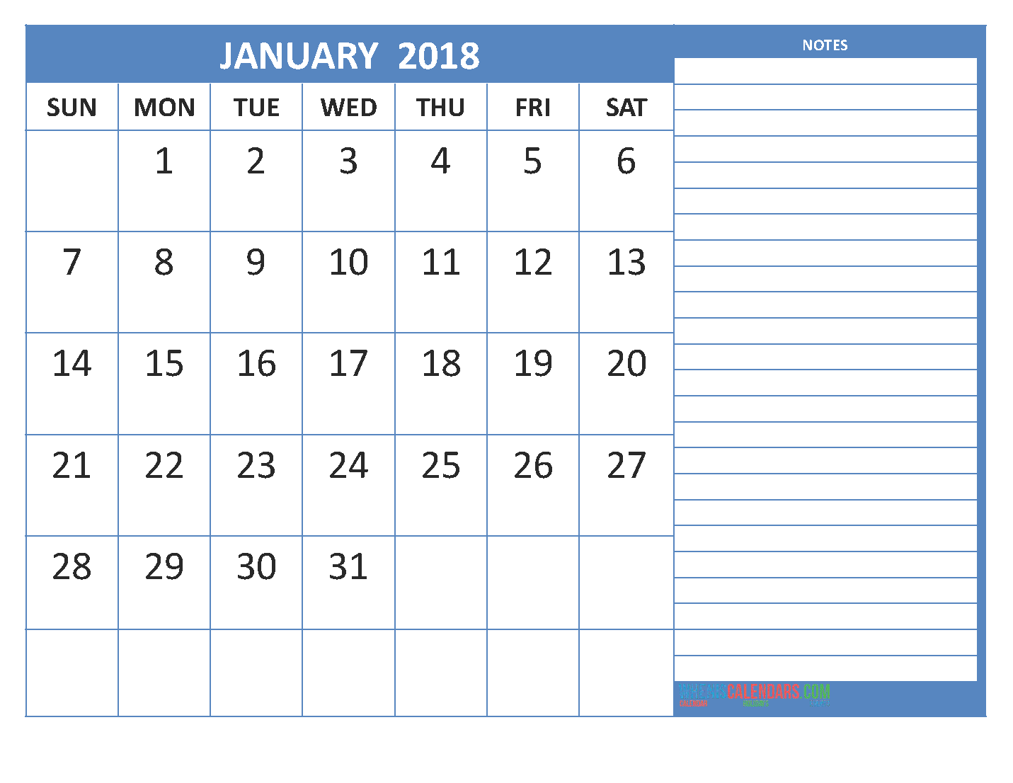 2018 january calendar here is the month of january for our free