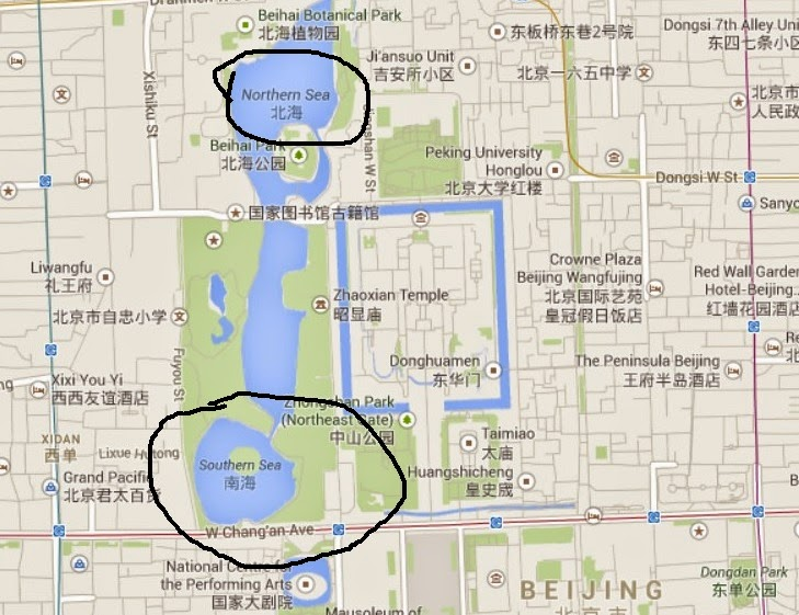 map of Beijing with Beihai and Nanhai circled