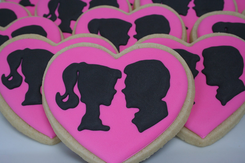 barbie and ken silhouette cookies for bridal shower