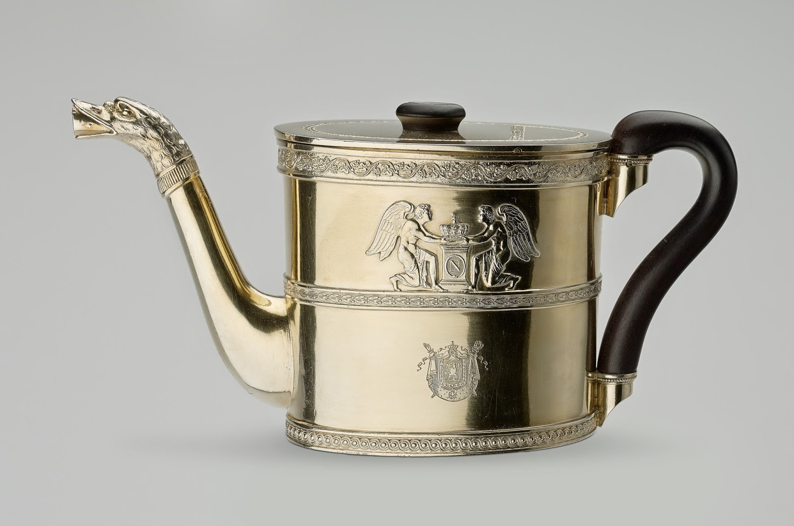 Silver-gilt teapot made by Martin Guillaume Biennais,  engraved with Napoleon's coat of arms  acquired by Queen Mary - Royal Collection Trust  © Her Majesty Queen Elizabeth II 2015