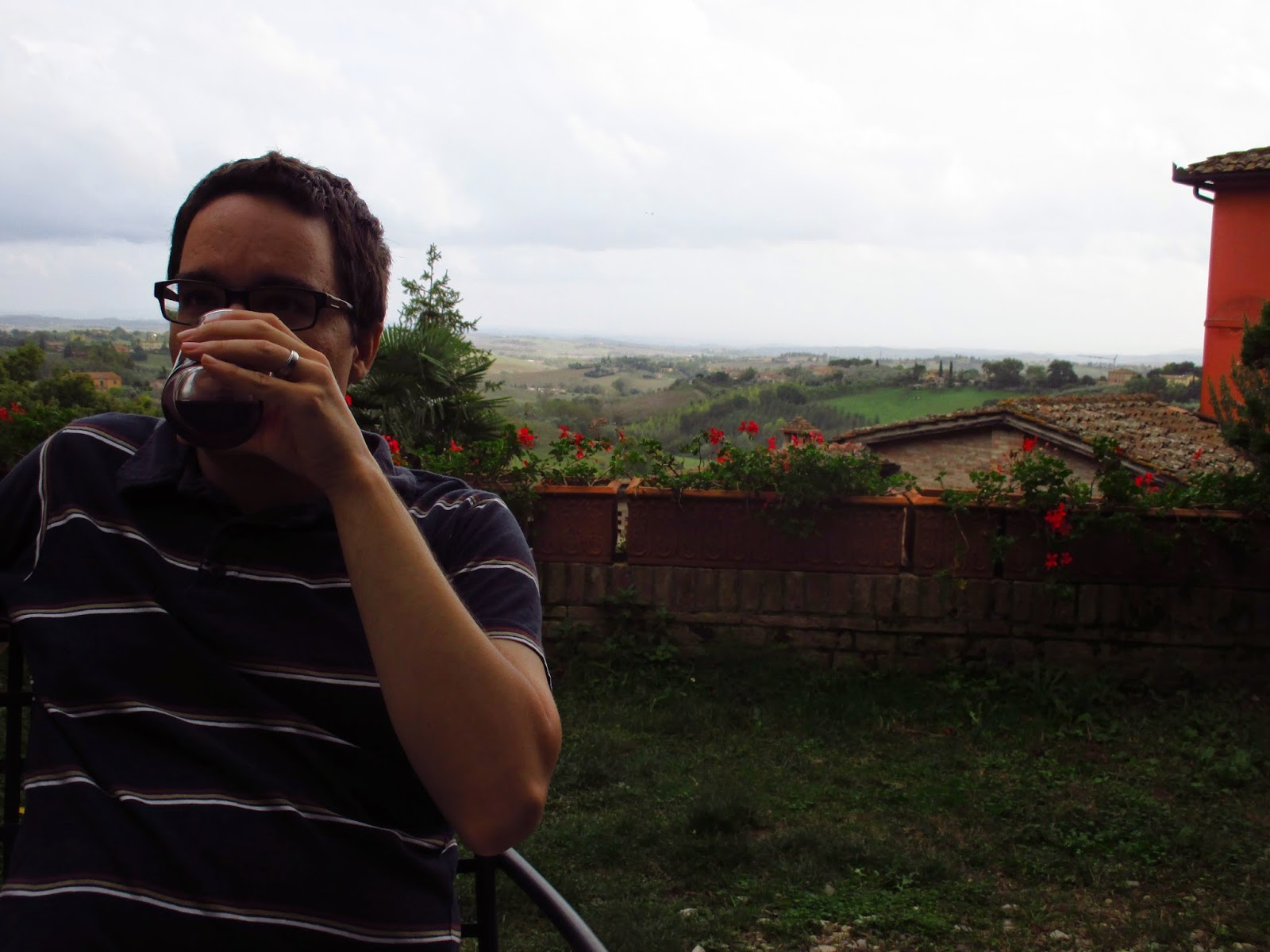 drinking wine in tuscany