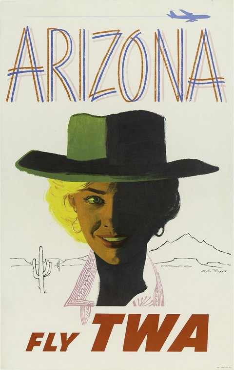 classic posters, free download, graphic design, retro prints, skiing, sports, travel, travel posters, vintage, vintage posters, Arizona, Fly TWA - Vintage Travel Poster