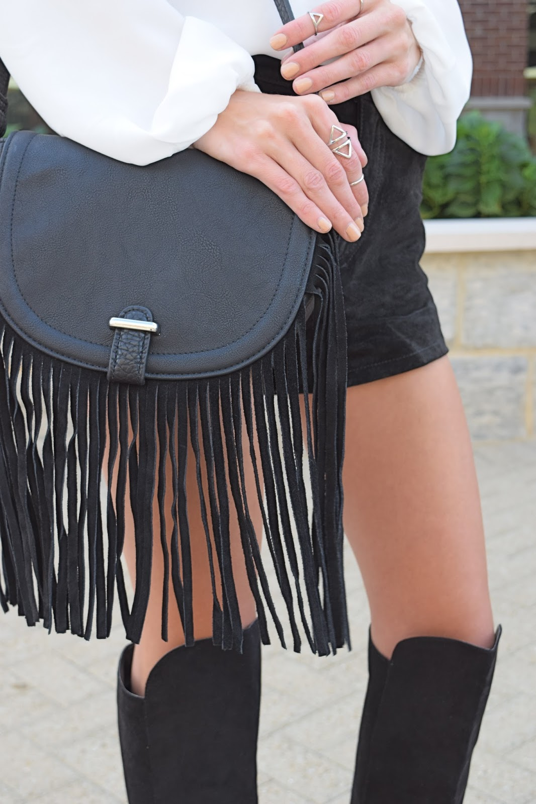 Wearing topshop suede black fringe cross body bag, Forever21 genuine suede black shorts