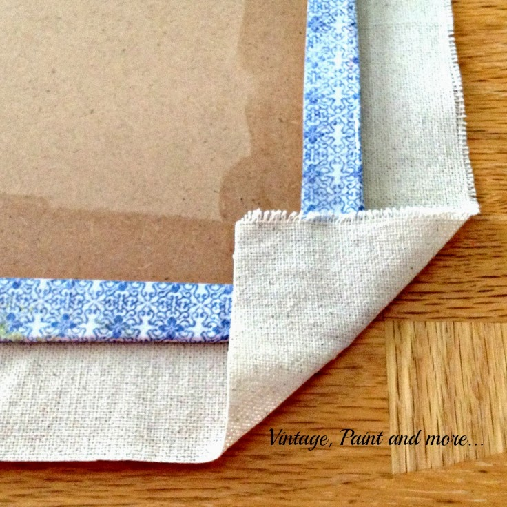 Stenciled Clip Boards - image of corner of fabric turned up on clip board
